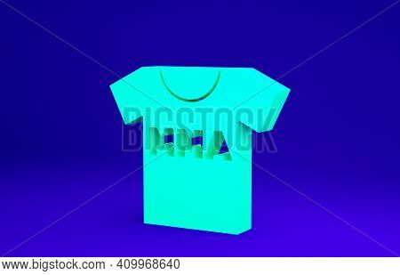 Green T-shirt With Fight Club Mma Icon Isolated On Blue Background. Mixed Martial Arts. Minimalism C