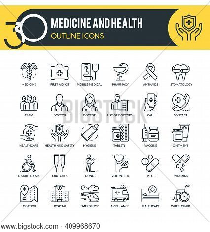 Set Of Outline Icons On Following Topics Medicine, Healthcare, Online Medical, Clinic And Hospital F