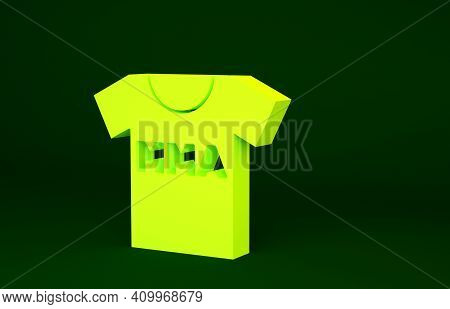 Yellow T-shirt With Fight Club Mma Icon Isolated On Green Background. Mixed Martial Arts. Minimalism