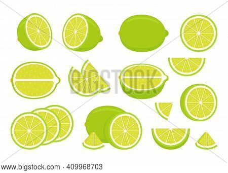 Set Of Green Ripe Lime - Whole, Cut Half, Piece And Slice Chopped Of Lemon. Fresh Sour Citrus Fruit