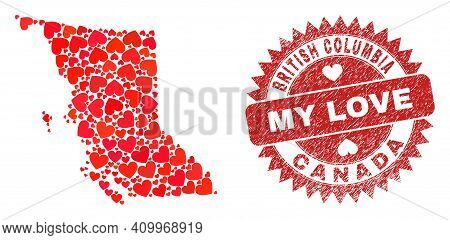 Vector Collage British Columbia Map Of Love Heart Items And Grunge My Love Badge. Collage Geographic