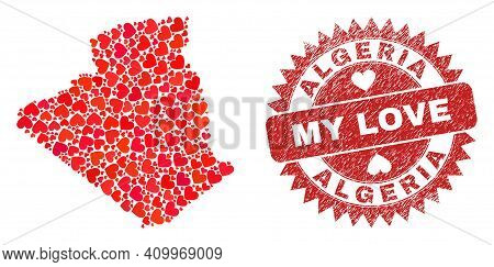 Vector Mosaic Algeria Map Of Love Heart Items And Grunge My Love Seal Stamp. Mosaic Geographic Alger