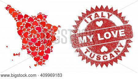Vector Mosaic Tuscany Region Map Of Lovely Heart Items And Grunge My Love Seal. Mosaic Geographic Tu