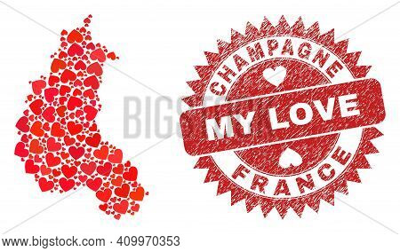 Vector Collage Champagne Province Map Of Love Heart Elements And Grunge My Love Seal Stamp. Collage
