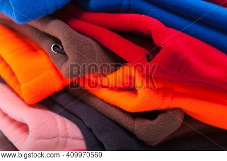 Colorful Fleece Clothes, Close Up Photo With Selective Focus