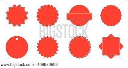 Set Of Red Starburst. Red Blank Stickers. Sunburst Badges, Labels, Sale Tags Isolated. Design Elemen