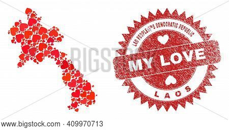 Vector Mosaic Laos Map Of Lovely Heart Elements And Grunge My Love Seal Stamp. Collage Geographic La