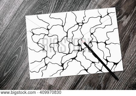 Abstract Imaginary Picture Of Curves By Black Pencil. A Psychological Art Therapy Tests. Identificat