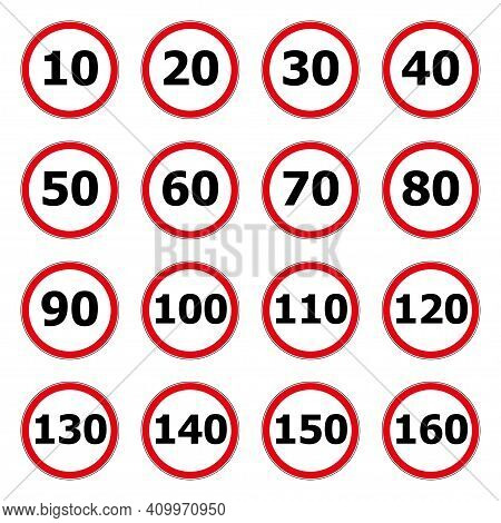 Speed Limit Icon Isolated On White Background. Symbol For Speeding. Set Of Red Road Signs 10, 20, 30