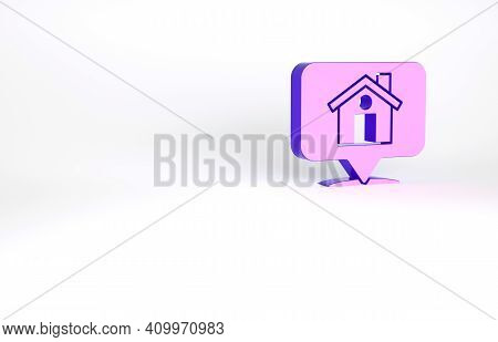 Purple Map Pointer With House Icon Isolated On White Background. Home Location Marker Symbol. Minima