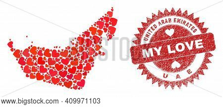 Vector Collage United Arab Emirates Map Of Love Heart Elements And Grunge My Love Seal Stamp. Mosaic
