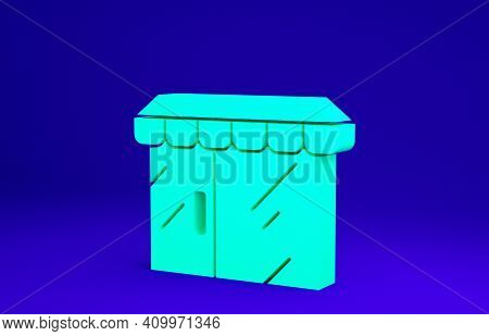 Green Shopping Building Or Market Store Icon Isolated On Blue Background. Shop Construction. Minimal