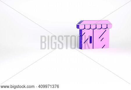 Purple Shopping Building Or Market Store Icon Isolated On White Background. Shop Construction. Minim