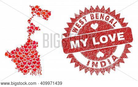 Vector Mosaic West Bengal State Map Of Love Heart Elements And Grunge My Love Stamp. Mosaic Geograph