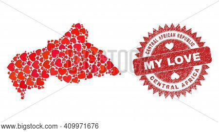 Vector Collage Central African Republic Map Of Love Heart Items And Grunge My Love Seal Stamp. Colla