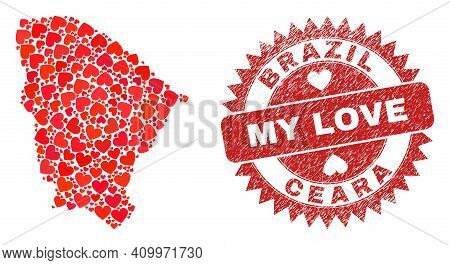 Vector Mosaic Ceara State Map Of Valentine Heart Elements And Grunge My Love Seal Stamp. Mosaic Geog