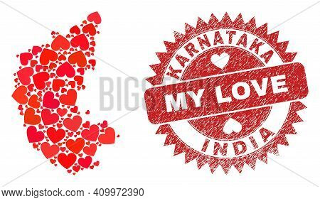 Vector Mosaic Karnataka State Map Of Lovely Heart Items And Grunge My Love Stamp. Mosaic Geographic