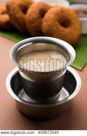 Coffee Concept. Coffee Cup On The Table, Hot And Fresh Morning Coffee. Brown Coffee.