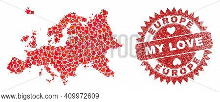 Vector Mosaic Europe Map Of Love Heart Items And Grunge My Love Badge. Mosaic Geographic Europe Map
