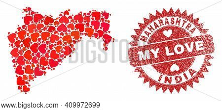 Vector Collage Maharashtra State Map Of Love Heart Elements And Grunge My Love Badge. Collage Geogra