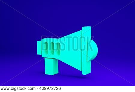 Green Megaphone Icon Isolated On Blue Background. Speaker Sign. Minimalism Concept. 3d Illustration