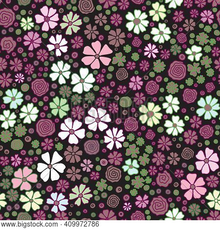 Flowers Wild ,colorful ,bright Spring Colors On Black Seamless Vector Pattern. Repeating Dense Liber