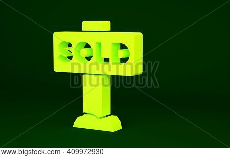 Yellow Hanging Sign With Text Sold Icon Isolated On Green Background. Sold Sticker. Sold Signboard.