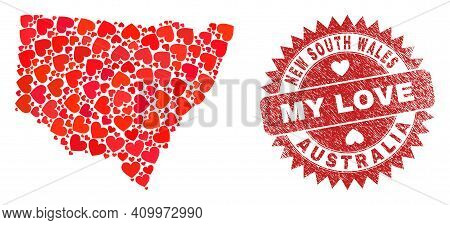 Vector Collage New South Wales Map Of Love Heart Elements And Grunge My Love Seal Stamp. Mosaic Geog