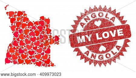 Vector Mosaic Angola Map Of Love Heart Items And Grunge My Love Stamp. Collage Geographic Angola Map