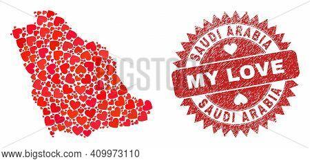 Vector Mosaic Saudi Arabia Map Of Love Heart Items And Grunge My Love Seal. Mosaic Geographic Saudi