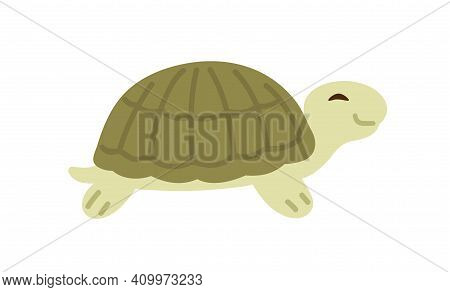 Cute And Funny Green Turtle With Shell. Side View Of Happy Tortoise Character Crawling. Colored Flat