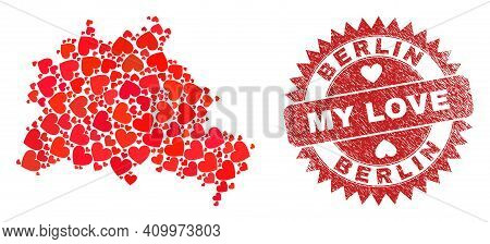 Vector Collage Berlin City Map Of Lovely Heart Elements And Grunge My Love Badge. Collage Geographic
