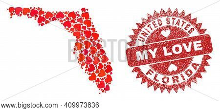 Vector Mosaic Florida State Map Of Valentine Heart Items And Grunge My Love Stamp. Mosaic Geographic