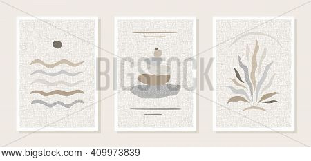 Set Of Three Posters, Wall Paintings. Abstract Images Of The Sea, Water, Sun, Pyramid Of Stones, Pla