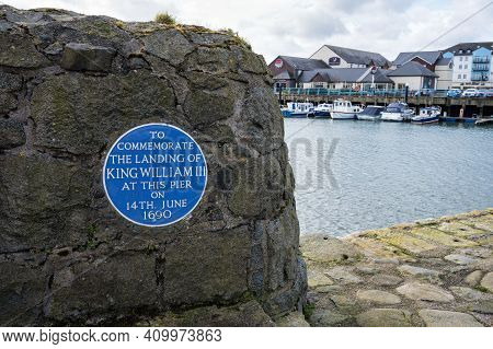 Carrickfergus, Northern Ireland- Feb 21, 2021: The Plaque Commemorating The Landing Site Of King Wil
