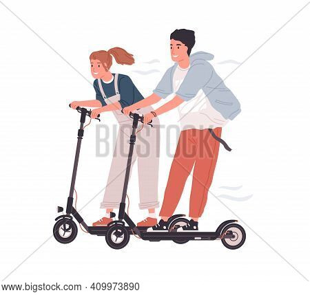 Couple Of Happy Teenagers Riding Electric Walk Scooters At Full Speed. Two Funny Friends Driving E-s