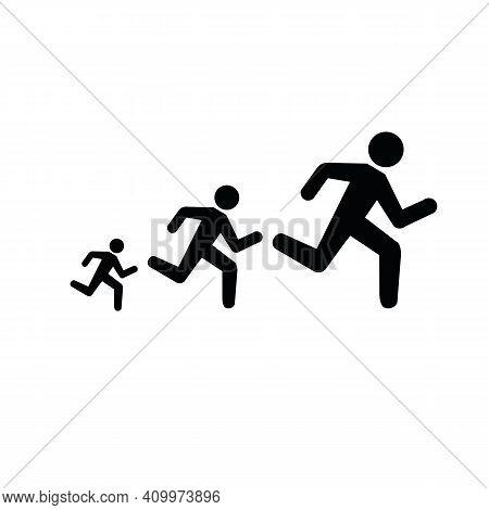 Runner Flat Icon. Running Man Vector Silhouette. Run Concept, Shadow. Sprinter
