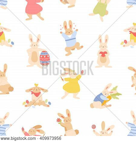 Seamless Paschal Pattern With Cute Bunnies, Rabbits And Easter Eggs On White Background. Repeatable