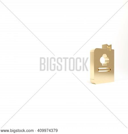 Gold Cookbook Icon Isolated On White Background. Cooking Book Icon. Recipe Book. Fork And Knife Icon