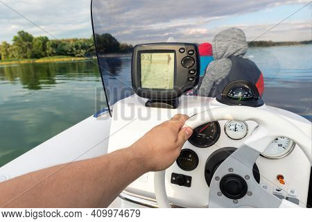 Young Adult Caucasian Man Pov Enjoy Having Fun Driving Fast Motorboat With Family On Pond Water Surf