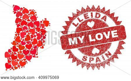 Vector Mosaic Lleida Province Map Of Lovely Heart Items And Grunge My Love Seal. Mosaic Geographic L
