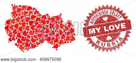 Vector Collage Novosibirsk Region Map Of Valentine Heart Elements And Grunge My Love Badge. Collage