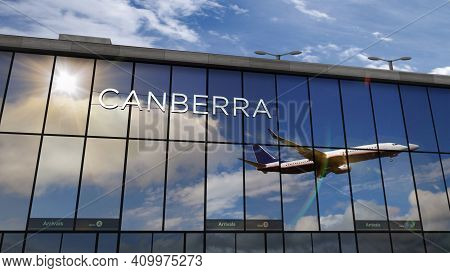 Airplane Landing At Canberra Australia Airport Mirrored In Terminal