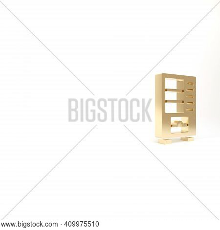 Gold Vending Machine Of Food And Beverage Automatic Selling Icon Isolated On White Background. 3d Il