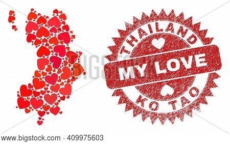 Vector Collage Ko Tao Map Of Valentine Heart Elements And Grunge My Love Stamp. Collage Geographic K