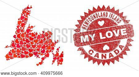 Vector Collage Newfoundland Island Map Of Love Heart Items And Grunge My Love Seal Stamp. Collage Ge