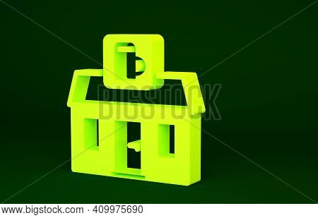 Yellow Store Building Of Beer Shop Icon Isolated On Green Background. Brewery Sign. Minimalism Conce