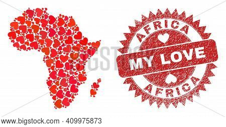 Vector Collage Africa Map Of Love Heart Elements And Grunge My Love Seal Stamp. Collage Geographic A