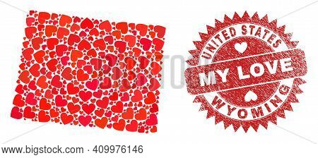 Vector Mosaic Wyoming State Map Of Love Heart Elements And Grunge My Love Seal Stamp. Collage Geogra