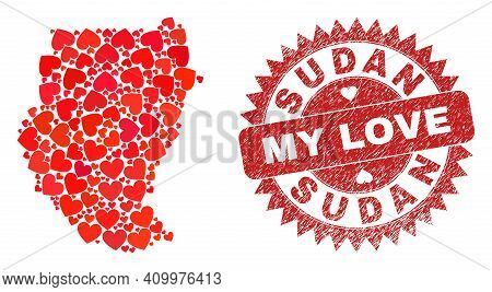 Vector Collage Sudan Map Of Love Heart Elements And Grunge My Love Seal. Collage Geographic Sudan Ma